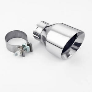2 5 In 4 Out Angle Cut Dual Wall Round Exhaust Tip Clamp On 304 Stainless