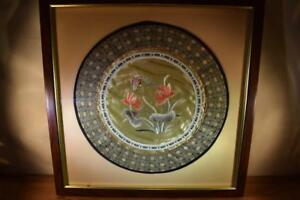 Vintage Asian Oriental Round Embroidery Silk Tapestry Picture Flowers Butterfly
