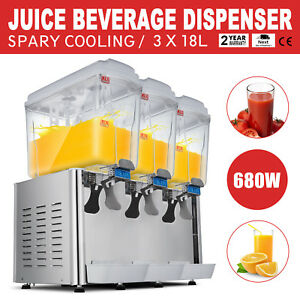 54l Stainless Steel Cold Juice Beverage Dispenser Refrigerated Jet Spray 3x18l