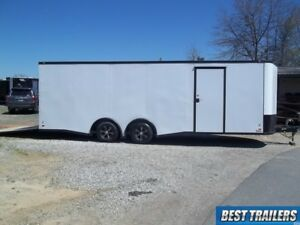 8 X 24 Blackout Enclosed Carhauler Trailer Cargo White Car Hauler Led 5k Axles