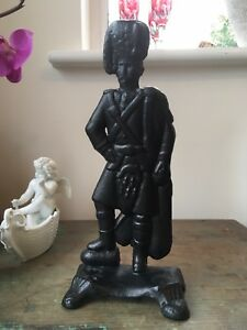 Vintage Scots Guard Cast Iron Door Stop Doorstop Scottish Soldier