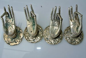 4 Used Tiny Pull Handle Hands Buddha Brass Door Age Old Style Knob Hook 1 1 2 B