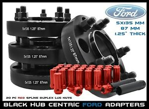 4 Pc 1 25 Ford 5x135 Wheel Adapter Kit 14x2 0 Red Lug Nuts F 150 Years 99 02