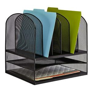 New Office Desktop File Folder Storage Organizer Shelf Letter Tray Steel Mesh