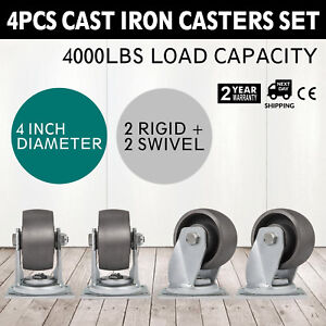 4 Heavy Duty Semi Steel Cast Iron Casters 2 Swivel 2 Rigid 4 000 Lb