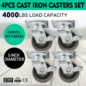 5 Heavy Duty Semi Steel Cast Iron Swivel Casters W brakes 4000 Lb Capacity 4pcs