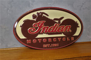 Indian Motorcycle Metal Vintage Style Signs Pump Gas Station Not Porcelain New