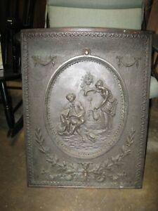 Antique Victorian Cast Iron Fireplace Insert Summer Cover Man And Women With Dog