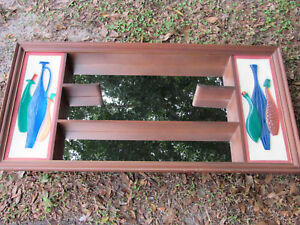 Mid Century Shadow Box Mirror Shelf Retro Wall Decor Mcm