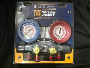New Yellow Jacket 46010 Brute Ii 4 valve Manifold With Set Of Vacuum Hoses