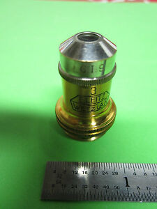 Microscope Optics Vintage E Leitz Wetzlar Germany 10x 3 Objective Bin 4t