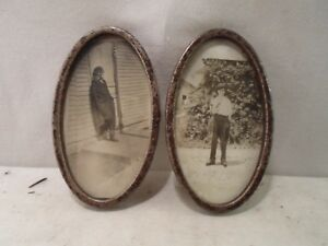 Set 2 Oval Metal Picture Frames Girls Dressed As Boys 3 X 5 Inches 691