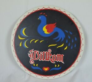 Vintage Dilkom Dilrom Dilikom Round Advertisment Sign With Bird Folk Art