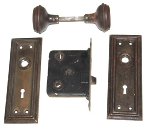 Rare Antique Mortise Lock Latch Set 2 Back Plates Brass Door Knob Spindle