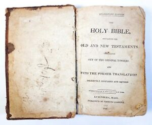 Early 19th C Antique 1826 Lunenburg Ma Leather Bound Holy Bible New Old Test