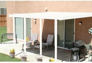 Integra 14 Ft X 12 Ft White Aluminum Attached Solid Patio Cover With 4 Posts