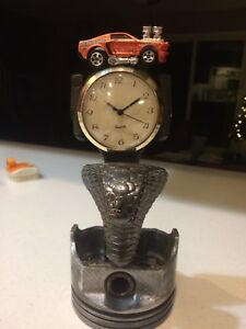 Cobra Mustang Collectible Handmade Metal Statue With Clock