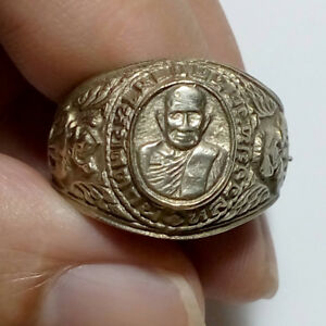 Real Thai Amulet Alpacca Ring Lp Tuad Wat Chang Hai Protect Wealth Charm Lucky
