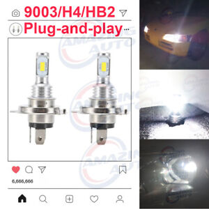 H4 9003 Led Headlight Bulbs Kit High Low Beam Upgrade 35w 4000lm 6000k White