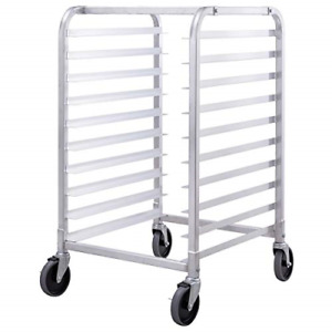 Colibrox 10 Sheet Aluminum Bakery Rack Rolling Commercial Cookie Bun Pan New