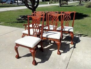 Vintage Chippendale Style Ball Claw Feet Dining Chairs Set Of 6