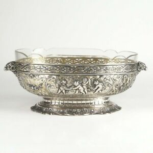 930 Sterling Silver Centerpiece Bowl Antique Germany Putti Glass Insert