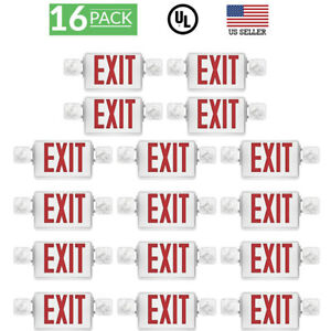 Sunco 16 Pack Emergency Exit Sign Single double Face Led W 2 Head Lights Ul