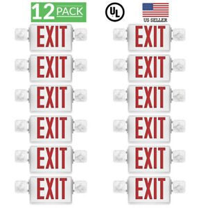 Sunco 12 Pack Emergency Exit Sign Single double Face Led W 2 Head Lights Ul