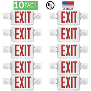 Sunco 10 Pack Emergency Exit Sign Single double Face Led W 2 Head Lights Ul