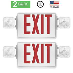 Sunco 2 Pack Emergency Exit Sign Single double Face Led W 2 Head Lights Ul