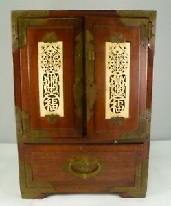 Vintage Chinese Or Asia Wood Jewelry Chest W Metal Mounts Bone Inlays