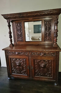 19th Century English Oak Sideboard With Gothic Revival Green Man Carvings