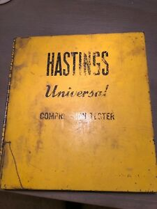 Vintage Hastings Universal Compression Tester Yellow Metal Case Old Auto Truck