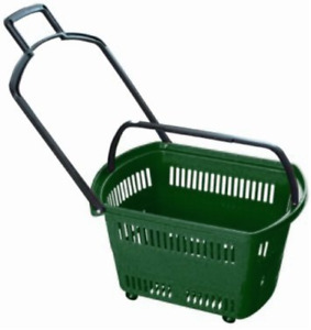 Grocery Shopping Carts Retail Grocery Baskets W swivel Wheels Pull along 6