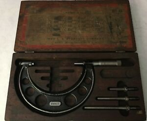 Starrett Outside Micrometer 0 To 4 No 224 Set Aa Wood Box