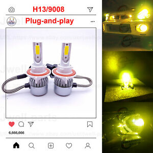 H13 9008 Led Headlight Bulb Kit High Low Beam Headlamp 55w 8000lm 8000k Ice Blue