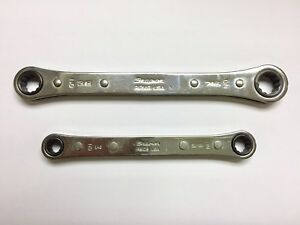 Snap on Sae 1 4 5 16 3 8 7 16 Std 0 Offset Ratcheting Box Wrench set Of 2