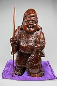 319 Japanese Vintage Antique Wood Carved Ebisu Lucky God Of Luck Statue