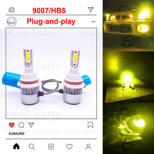 9007 Hb5 6000k Super White Led Headlight Bulbs High Low Beam Conversion Kit Pair