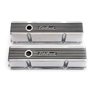 Edelbrock 4263 Elite Series Valve Cover Set Small Block Chevy