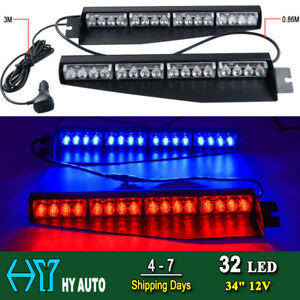 34 32 Led Emergency Warning Visor Mount Dash Flash Strobe Light Bar Red