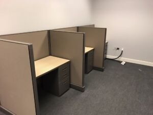 Used 3 Pod Telemarketing Cubicle Stations 48 w X 36d X 53 h