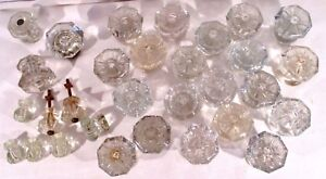 Lot Of 30 Vintage Clear Glass Door Knobs 8 Point Drawer Pulls