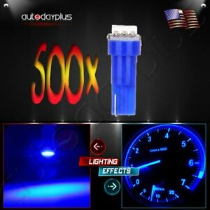 500pcs T5 17 18 70 74 Blue Wedge 1 5050smd Instrument Gauge Dash Led Light Bulbs