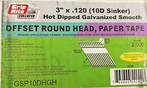 2000 3 Grip Rite Nail Paper Collated Galvanized 33 Round Head Sinkers Gsp10hgh