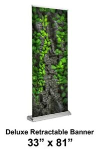 Deluxe Retractable Banner 33 X 81 Stand Print Trade Show Quality