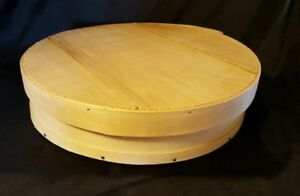 Vintage Round Bentwood Shaker Pantry Cheese Box Large 15 With Wood Slat Lid