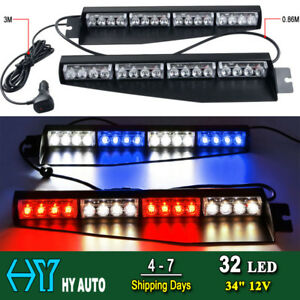 34 32led Car Emergency Warning Visor Dash Strobe Flash Light Bar Blue White Red