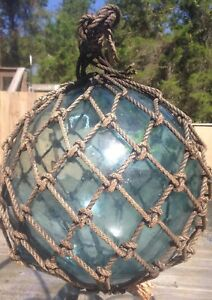 Old Authentic Large Signed T Vtg Antique Glass Fishing Float Rope Buoy Ball 1
