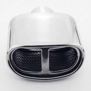 2 25 Inlet Resonated Oval Roll Angle Slant Cut Exhaust Tip 304 Stainless Steel
